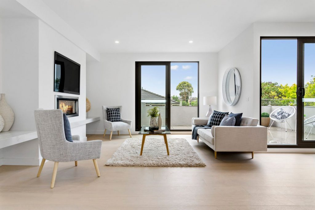 Glass Creek Balwyn North Apartments Interiors Interior Design Living Room Fireplace